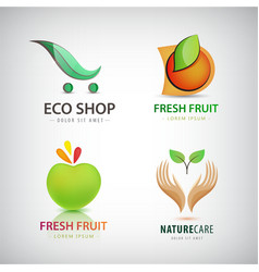 Set of eco food organic green logos vector