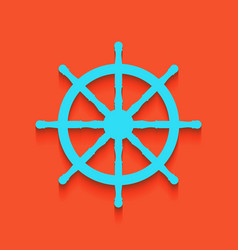 Ship wheel sign whitish icon on brick vector