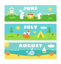 Summer months calendar flashcards set nature vector