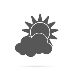 sun and cloud grey icon vector image vector image