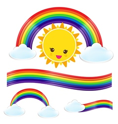 Sun rain bow cloud 002 vector
