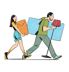 Young couple carrying home furniture vector