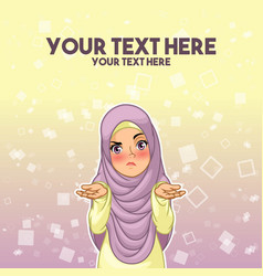 01 muslim woman shrugging her shoulders with arms vector