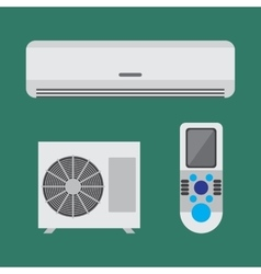Air conditioner equipment set flat vector