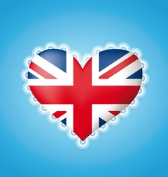 Heart shape flag of great britain vector