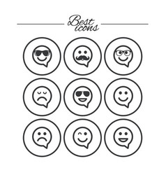 smile icons sunglasses mustache and laughing vector image