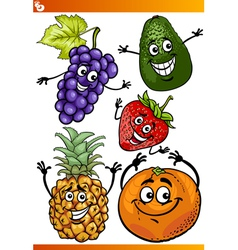 Funny fruits cartoon set vector