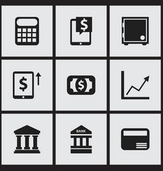 Set of 9 editable investment icons includes vector