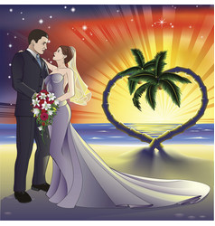 Tropical beach wedding vector