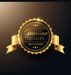Genuine quality award golden label badge design vector