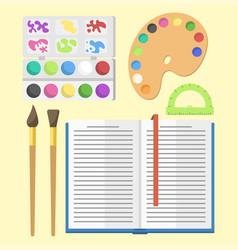 School supplies children stationary educational vector