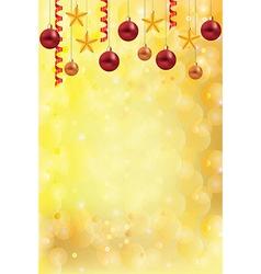 christmas gold background balls stars vector image