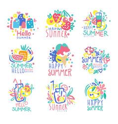 Hello summer logo template original design set vector