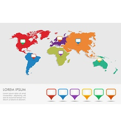 World map geo position pointers infographics EPS10 vector image
