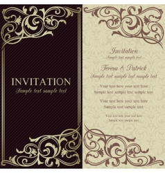 Baroque invitation dark brown and beige vector
