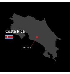Detailed map of costa rica and capital city san vector