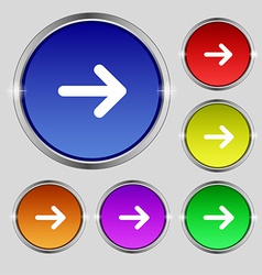 Arrow right next icon sign round symbol on bright vector