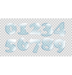Realistic water drops number set on transparent vector