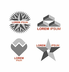 Set of logos in grey icons templates vector