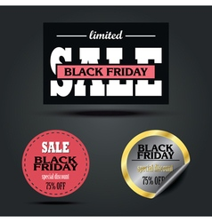 Set of black friday sale stickers design vector