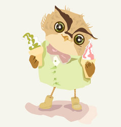 Owl with ice cream vector
