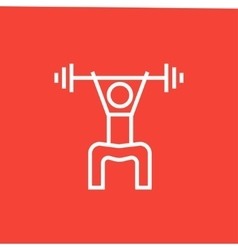 Man exercising with barbell line icon vector