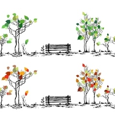 Park sketch Bench and trees in different seasons vector image