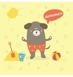 A summer scene with a cartoon dog vector
