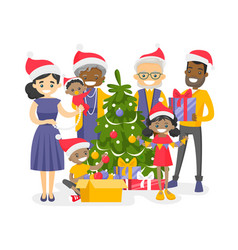 Big biracial family decorating the christmas tree vector