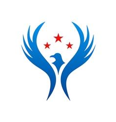 bird fly american star logo vector image