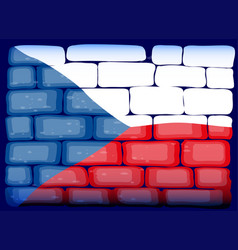 Czech republic flag on brickwall vector