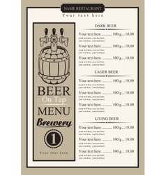Draft beer menu vector