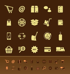 Ecommerce color icons on brown background vector image