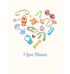 Fitness and gym background hand drawn colorful vector