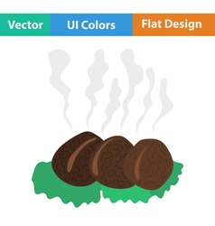 Flat design icon of smoking cutlet on plate vector