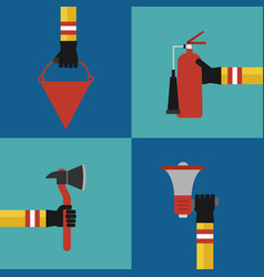 flat modern design fire fighting concept set vector image vector image