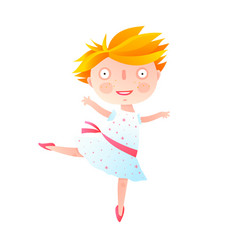 Girl dancing ballet in cute dress vector