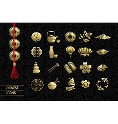 Gold chinese culture icon set traditional vector