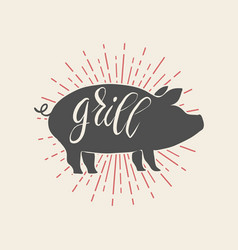 grill pork on white background vector image vector image