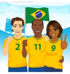 Group of brazilian supporters cheering vector image