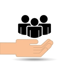 hand holding group person design vector image