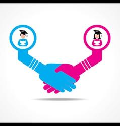Handshake between educated men and women vector