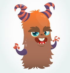 Happy cartoon orange and fluffy horned monster vector