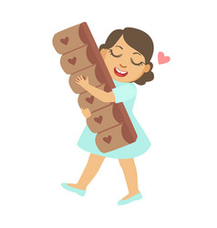 Happy little girl carring a big chocolate bar a vector