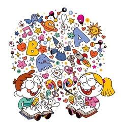 Kids reading books vector