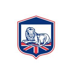 Lion lying british flag shield retro vector