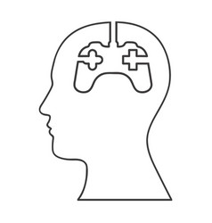 Monochrome silhouette of human head and gamer mind vector
