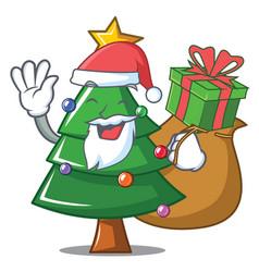 Santa with gift christmas tree character cartoon vector