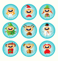 Set of christmas cartoon stickers with cute childr vector