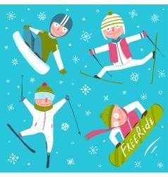 Ski snowboard snowflakes winter sport funny vector